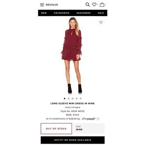 Hoss Intropia Dresses - Long Sleeve Mini Dress In Wine by Hoss Intropia.